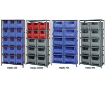SHELVING UNITS WITH STACKABLE STORAGE BINS
